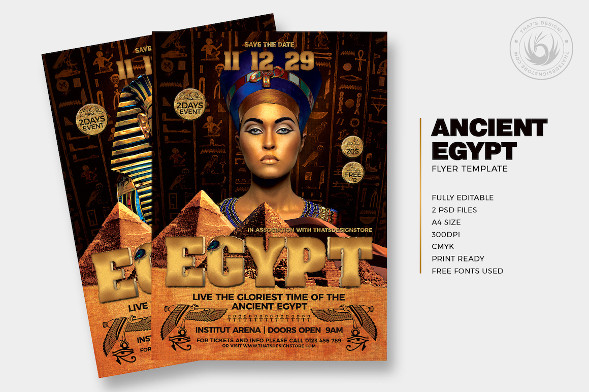 Ancient Egypt Event Flyer Template Psd For Seminar Conference - Save the date flyer template