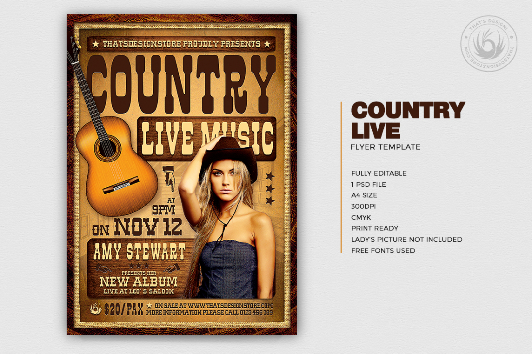 Country Live Flyer Template V4, western psd flyer to download