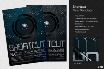 Shortcut Flyer Template electro psd to download. Editable and printable