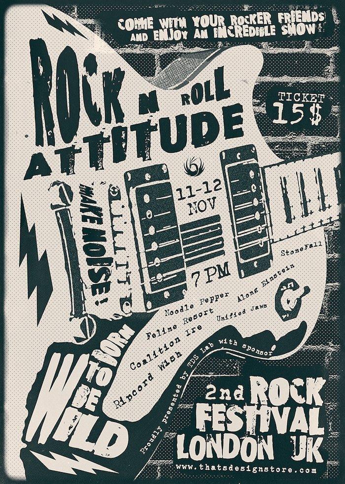 Rock Festival Flyer Template PSD download V3