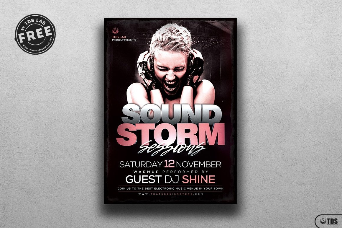 free sound storm flyer template thats design store