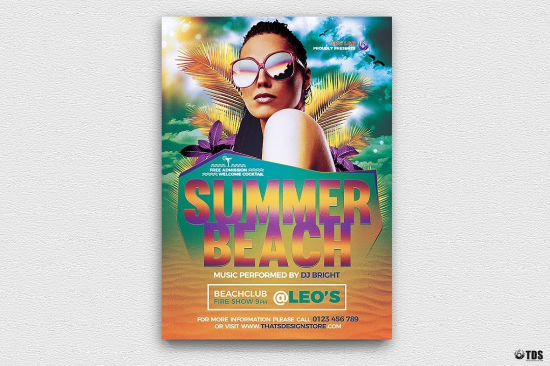 Summer Beach Flyer Template V1, Beach party psd flyer templates
