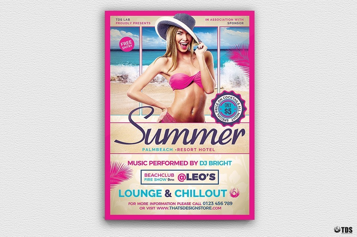 Summer Beach Flyer Template V2; Beach party psd flyer templates