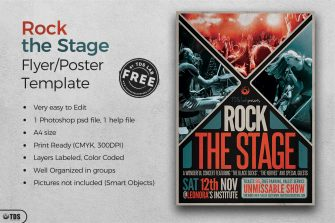 Freebies Rock Free printable Flyer Templates for festival event, Download live band posters psd design