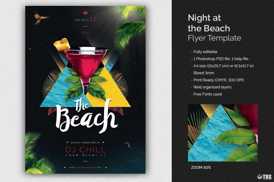 Night at The Beach Flyer Template for any beach party,festival, club or cocktails bar event. Pool or garden party with Dj set mixing chillout, lounge music for a tropical sunset, summer camp holidays