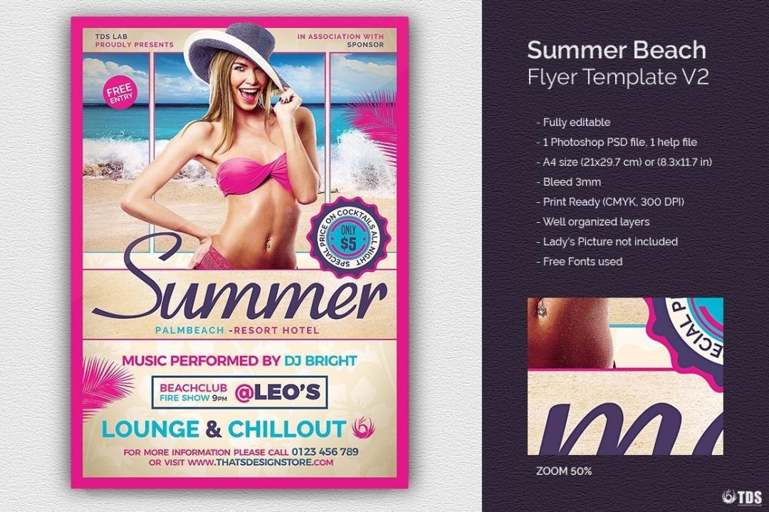 Summer Beach Flyer Template V2; Beach party psd flyer templates