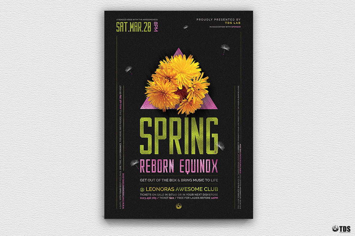 Spring Party Flyer Psd Templates, Spring Equinox Flyer Template V6