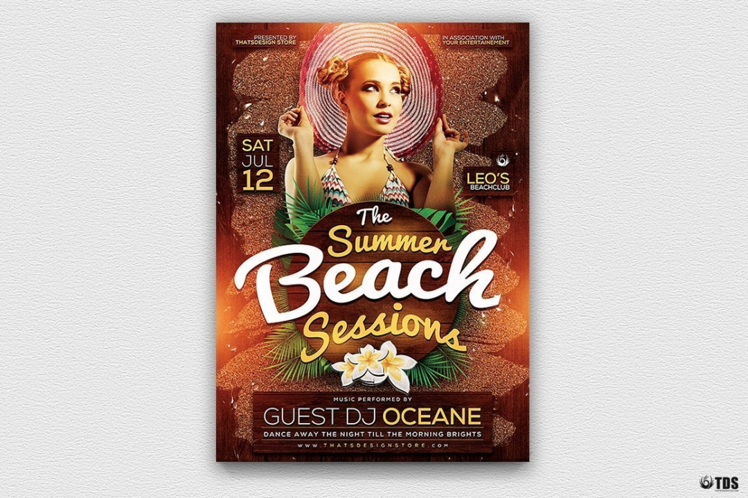 Summertime Flyer Template V3 for any beach party,festival, club or cocktails bar event. Pool or garden party with Dj set mixing chillout, lounge music for a tropical sunset, summer camp holidays