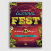 Summer Festival Flyer Template for any beach party,festival, club or cocktails bar event. Pool or garden party with Dj set mixing chillout, lounge music for a tropical sunset, summer camp holidays