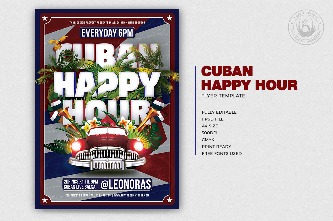 Salsa Tropical Cuban Flyer Template Psd Design For Photoshop