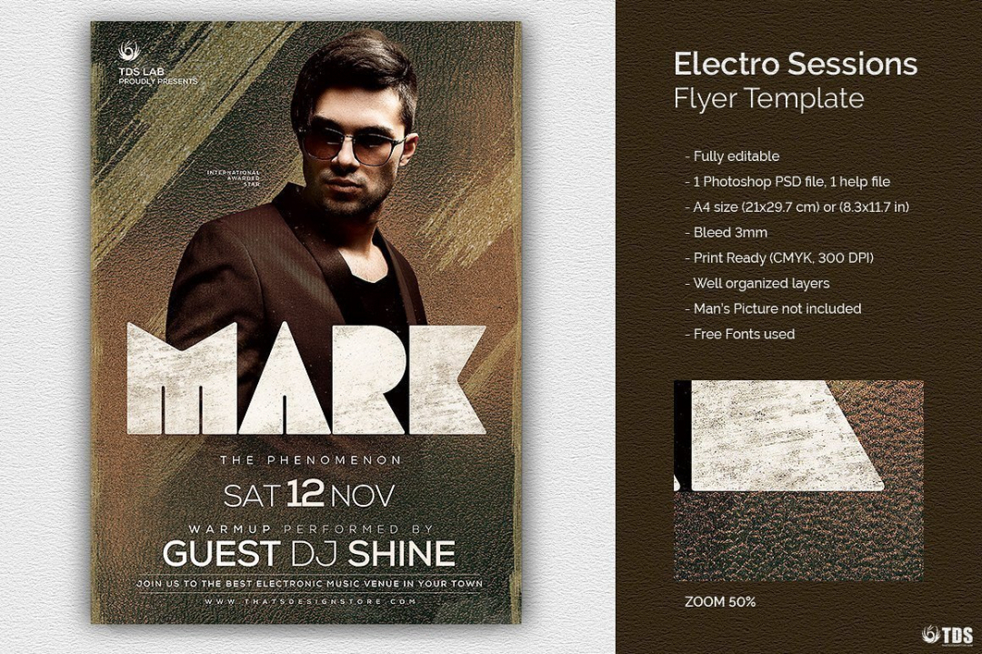 Electro Sessions Flyer Template, Club psd flyers