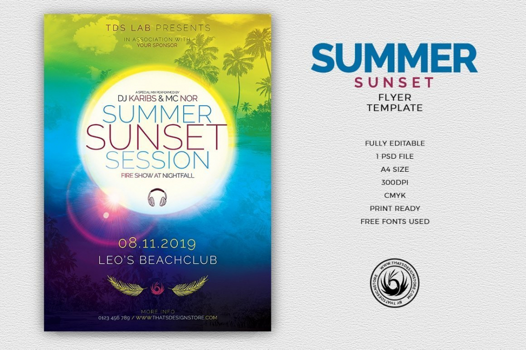 Summer Sunset Flyer Template, for any beach party,festival, club or cocktails bar event. Pool or garden party with Dj set mixing chillout, lounge music for a tropical sunset, summer camp holidays