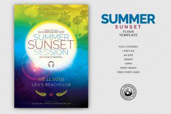 Summer Sunset Flyer Template, Beach party psd flyers