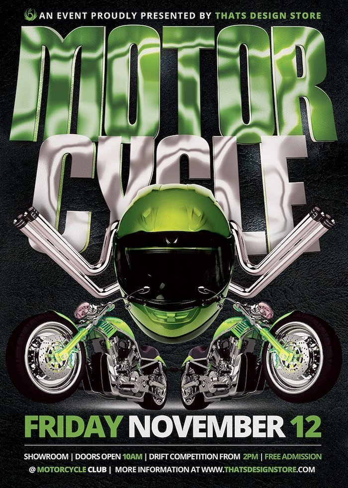 Motorcycle Flyer Template Thats Design Store