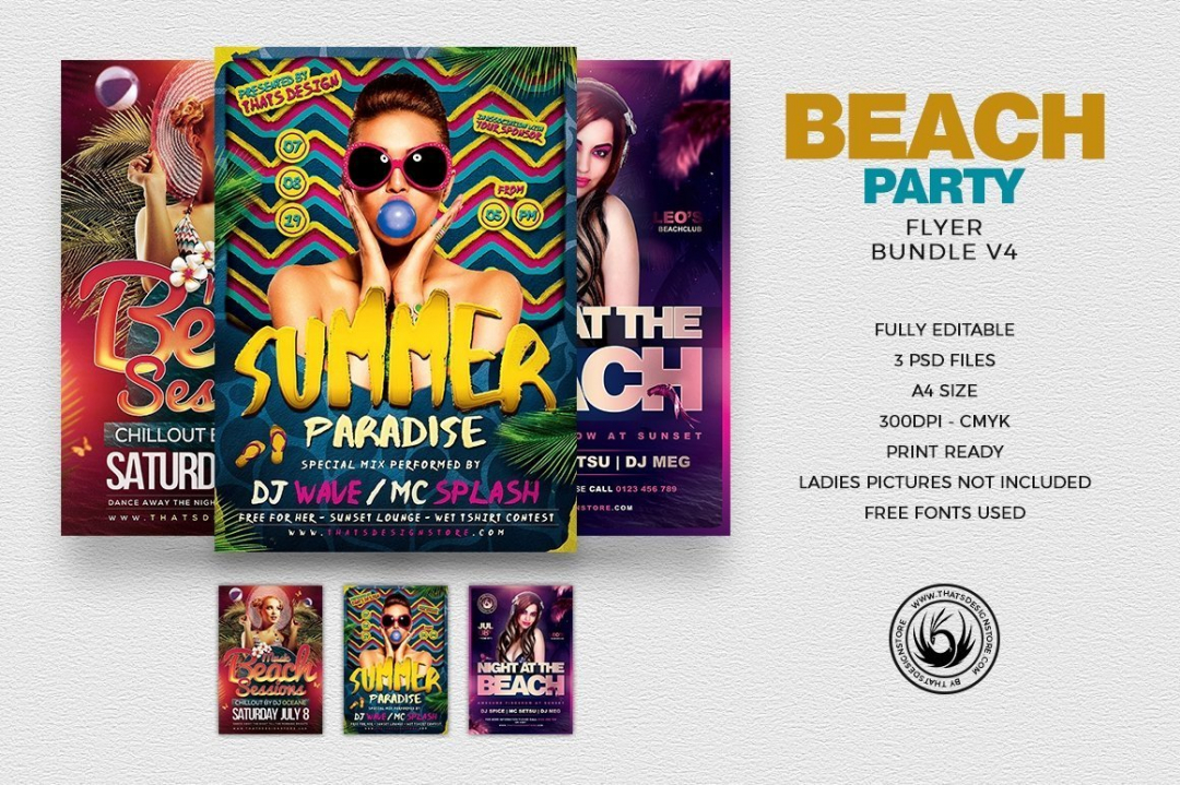 Beach Party Flyer Bundle V4 for any beach party,festival, club or cocktails bar event. Pool or garden party with Dj set mixing chillout, lounge music for a tropical sunset, summer camp holidays
