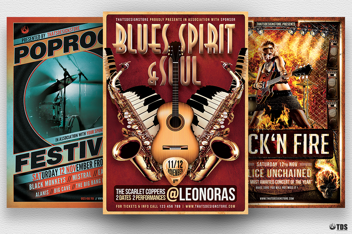 Concert Live Band Flyer Templates Design Bundle