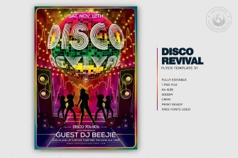 Disco Revival Flyer Template Psd download, Saturday night fever, Remember, flower power, 70's, 80's, 90's and Revival Special Afro party