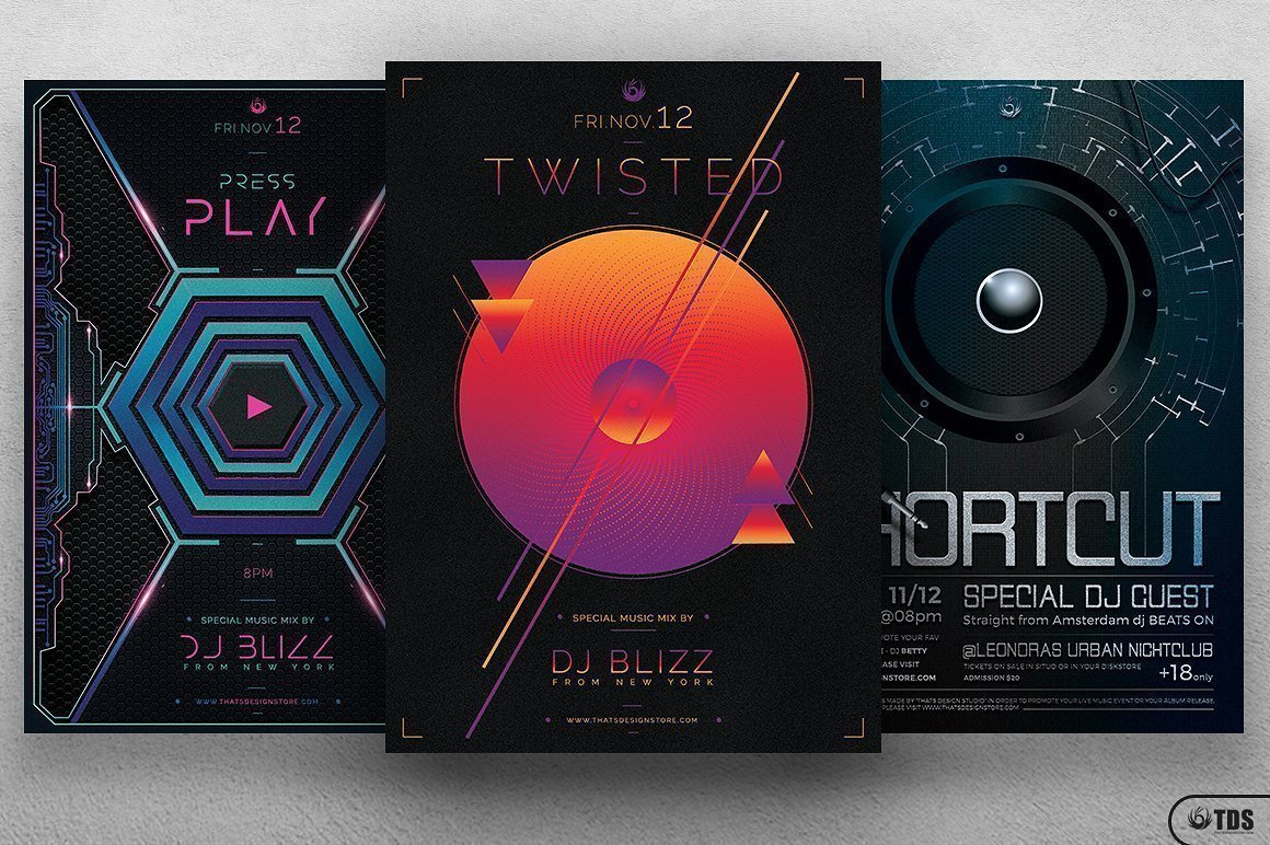 3 FLYERS - Electro Sessions Flyer Bundle