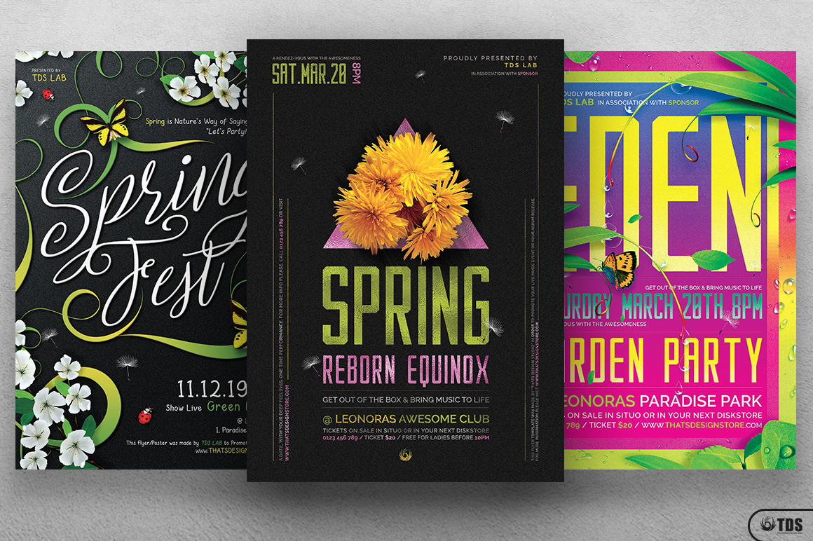 3 PSD - Spring Festival Flyers Bundle