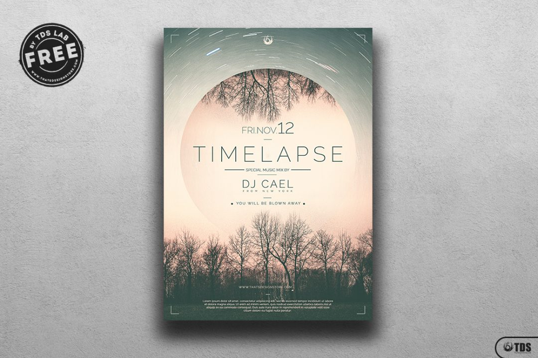 Time Lapse Flyer Template, Download Club party freebies for free
