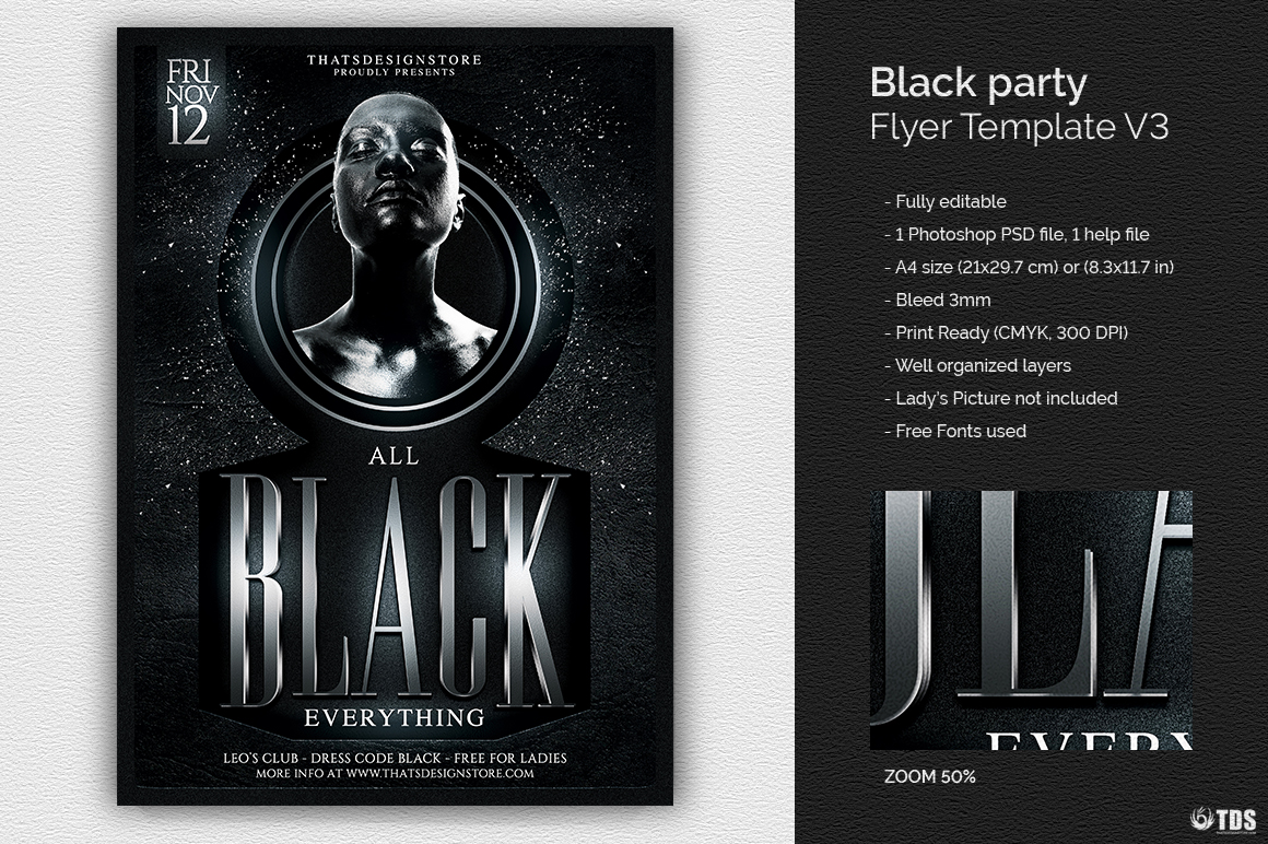 Black And White Flyer Template | Black Party Flyer Template V3 Thats Design Store