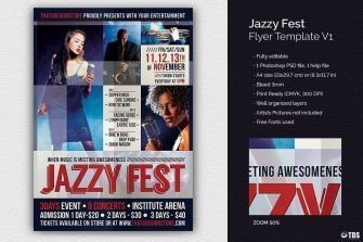 Jazzy Fest Flyer Template V1, Jazz psd flyers