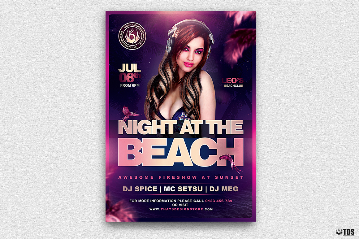 Night at the Beach Flyer Template V2