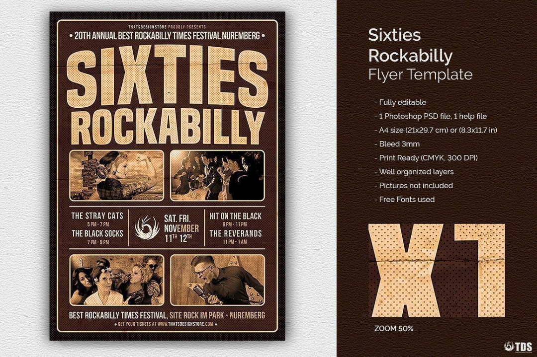 Sixties Rockabilly Flyer Template, Concert psd flyers