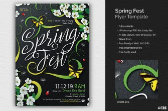Spring fest Flyer Template Psd download, earth day flyers, ecological, green