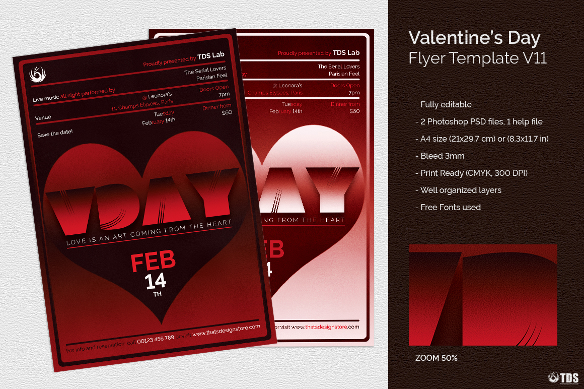 Valentine's Day Flyer Template V11 love Psd download to customize with photoshop