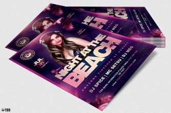Night at the Beach Flyer Template V2 for any beach party,festival, club or cocktails bar event. Pool or garden party with Dj set mixing chillout, lounge music for a tropical sunset, summer camp holidays