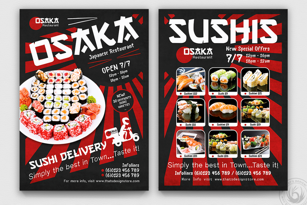 Sushi Delivery Flyer Template
