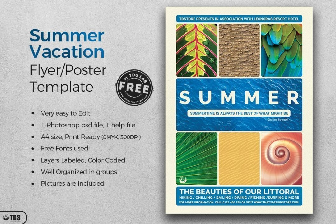 Free Summer vacation Flyer Template psd, Download freebies for free for any beach party,festival, club or cocktails bar event. Pool or garden party with Dj set mixing chillout, lounge music for a tropical sunset, summer camp holidays
