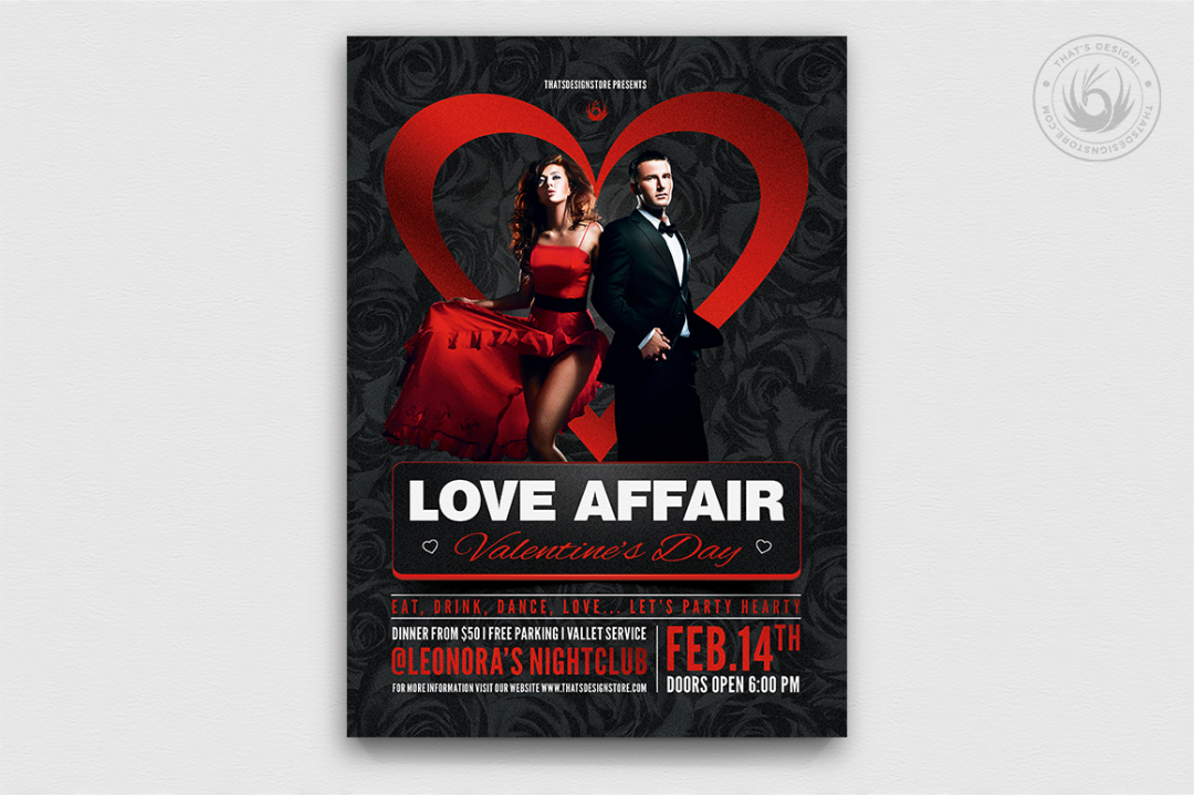 Valentine's Day Flyer Template V1 love Psd download to customize with photoshop