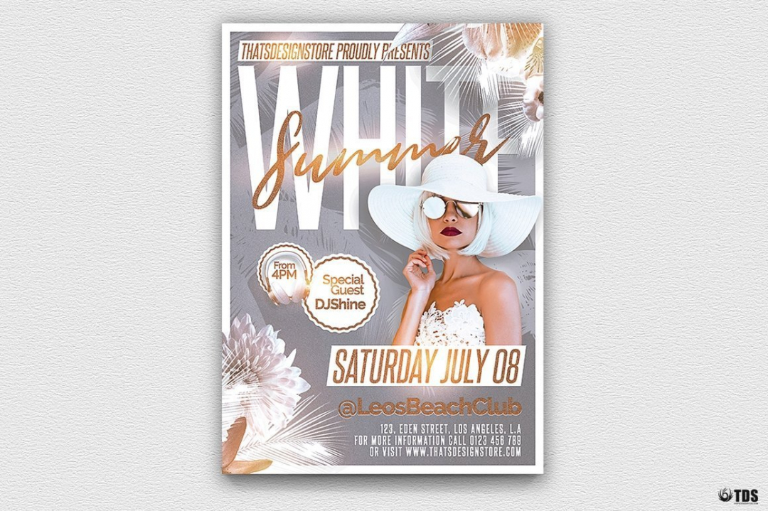 White Summer Party Flyer Template psd download for any beach party,festival, club or cocktails bar event. Pool or garden party with Dj set mixing chillout, lounge music for a tropical sunset, summer camp holidays