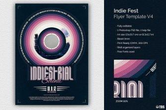 Indie Fest Flyer Template Psd download V4