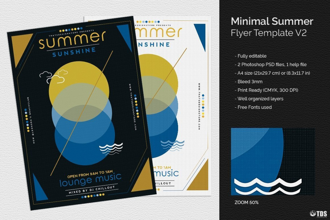 Minimal Summer Flyer Template V2 for any beach party,festival, club or cocktails bar event. Pool or garden party with Dj set mixing chillout, lounge music for a tropical sunset, summer camp holidays