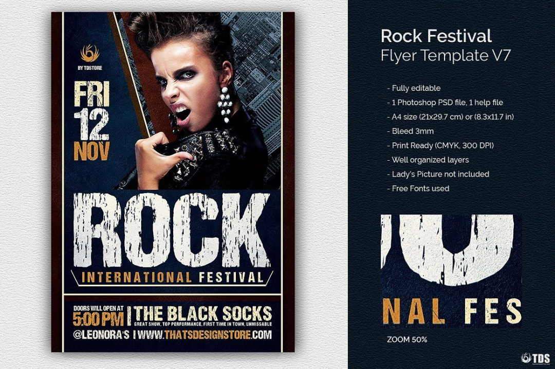 Rock Festival Flyer Template psd download V7