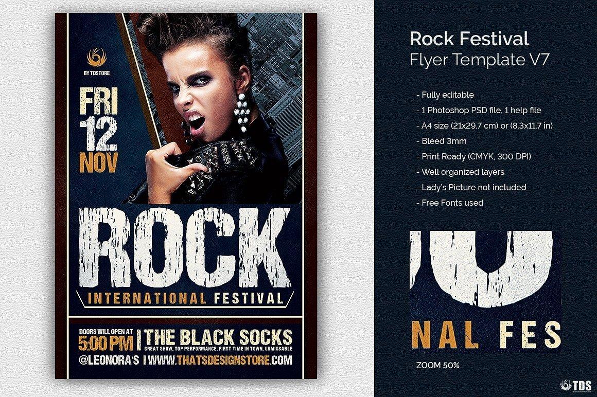 Rock Festival Flyer Template psd download V7