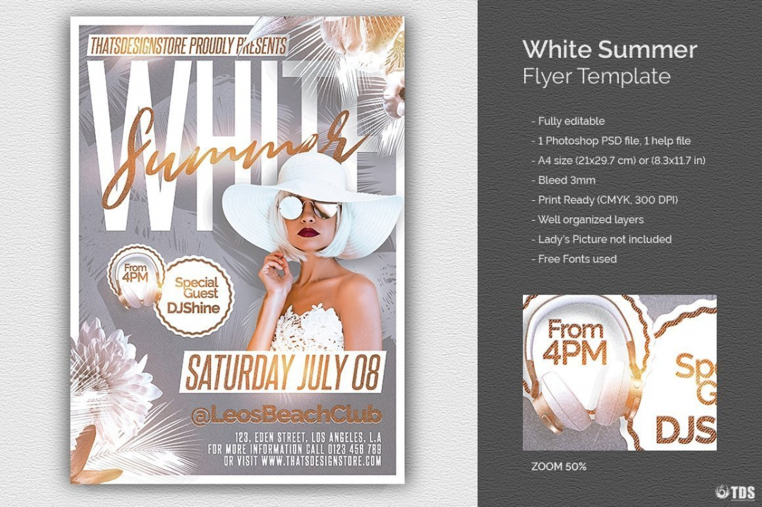 White Party Flyer Template psd download for any beach party,festival, club or cocktails bar event. Pool or garden party with Dj set mixing chillout, lounge music for a tropical sunset, summer camp holidays