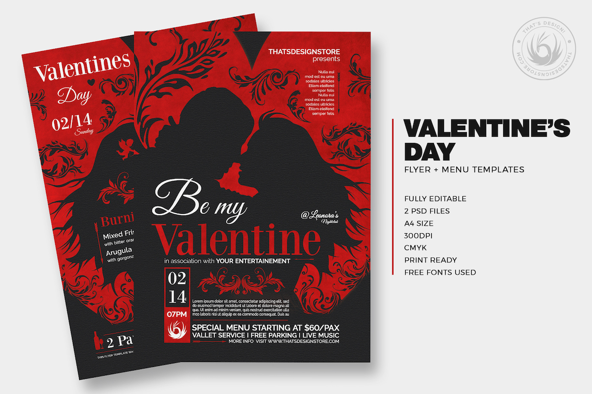 Valentine\'s day Flyer and Menu Template For Photoshop V.6