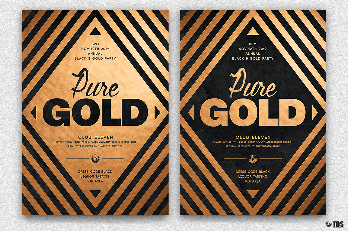 Minimal Black & Gold Flyer Template V6 | Thats Design! Store