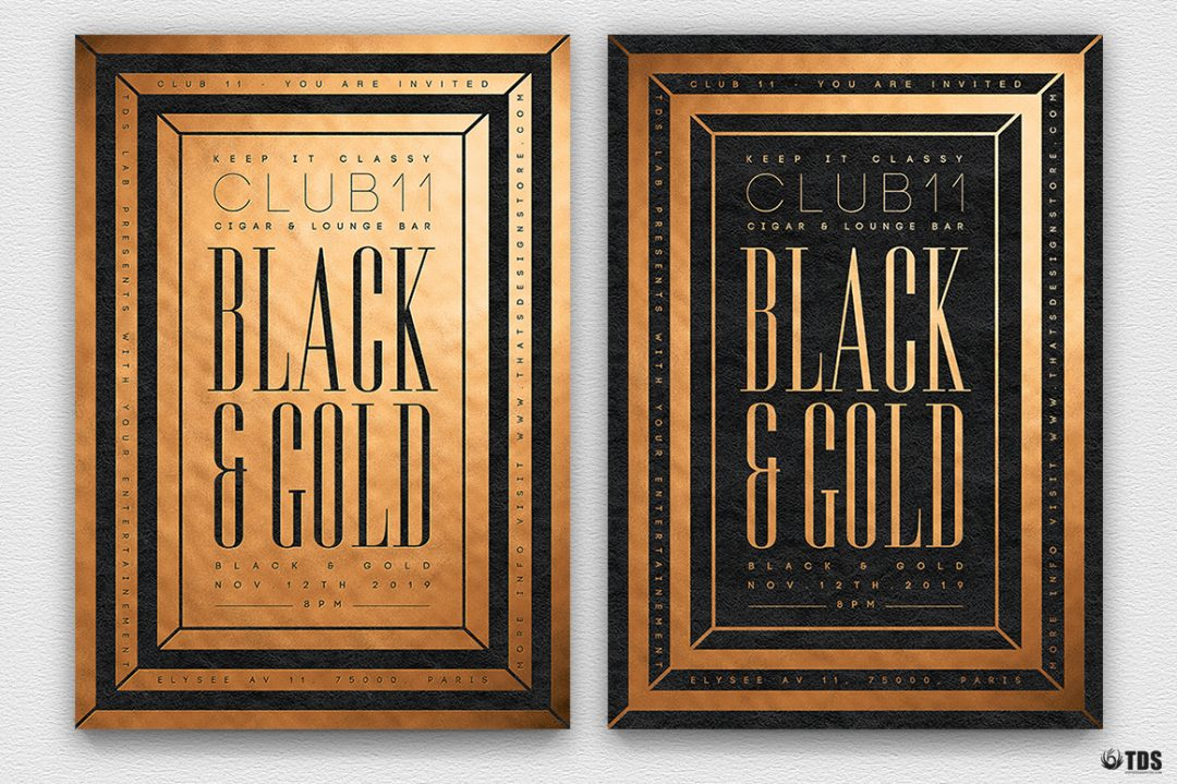 Minimal Black & Gold Flyer Template PSD download V7, cigare lounge, luxury event