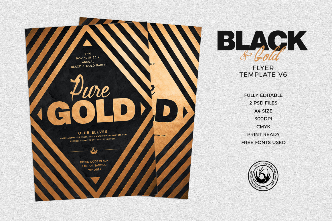 minimal black gold flyer template v6 thats design store