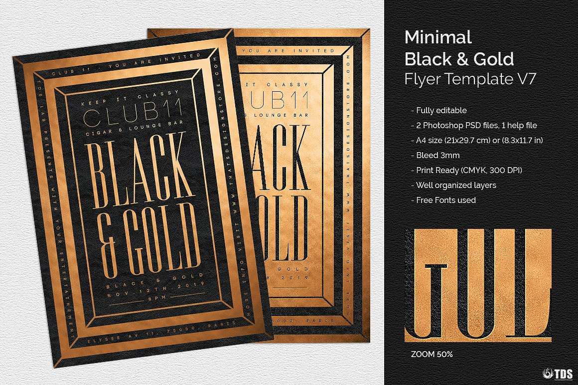 minimal black gold flyer template v7 thats design store