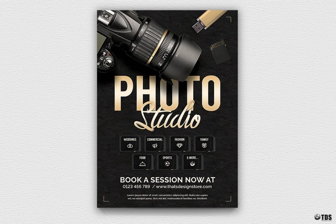 Photo Studio Flyer Template Psd download design for photoshop, photoshoot, photo booth, photography, photographer