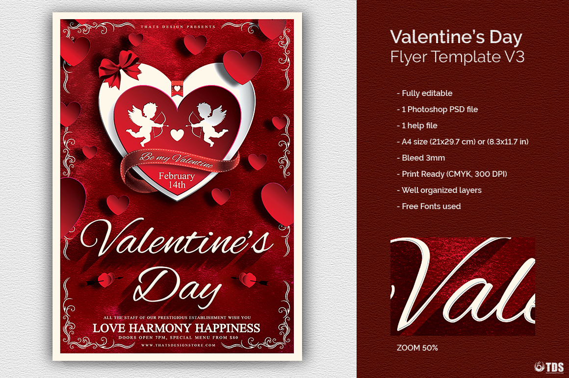 valentines day flyer template psd design for photoshop v3