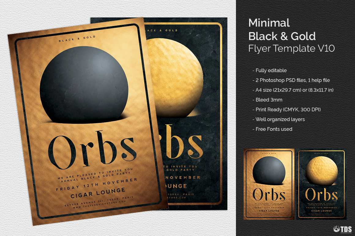 Minimal Black Gold Flyer Template V10 Thats Design Store