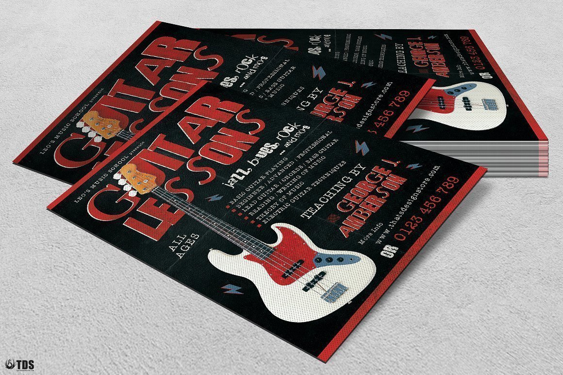 Guitar Lessons Flyer Template V2
