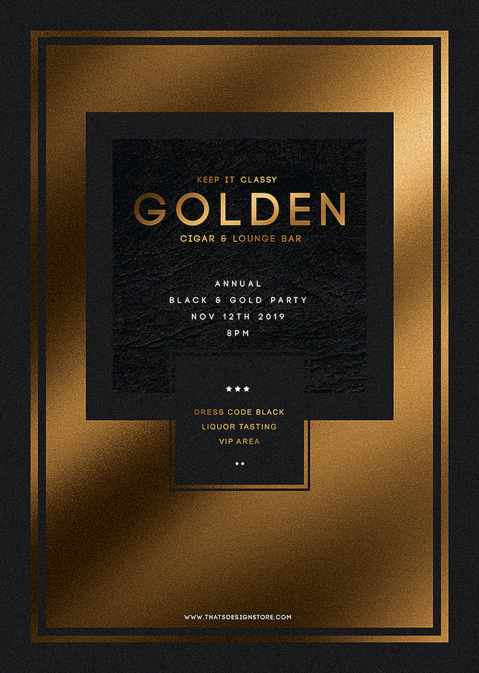 Minimal Black & Gold Flyer Template PSD download V1, cigare lounge, luxury event